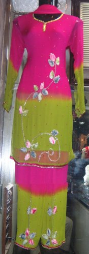 sr 106 dyed chiffon three qarter sleeve suit
