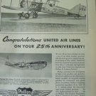 Phillips 66 / United Airlines Anniversary / Boeing 40A / Boeing Stratocruiser ad