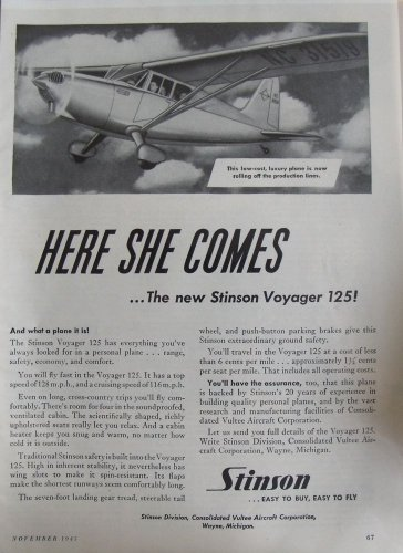 1945 Stinson Voyager 125 aircraft ad