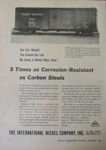 1955 International Nickel Company / Union Pacific boxcar ad