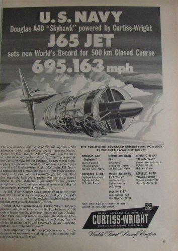 1950s Curtiss-Wright J65 turbojet  / Douglas A4D A-4 Skyhawk speed record ad
