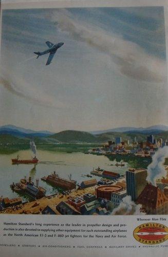 1950s Hamilton Standard / North American FJ-2 Fury naval jet fighter ad