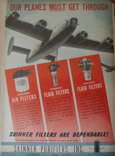 WW2 Skinner Purifiers / Consolidated B-24 Liberator bomber ad