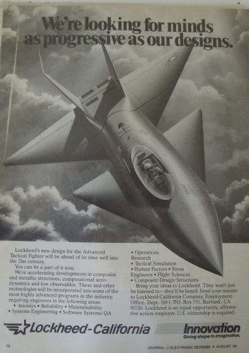 1986 Lockheed California Advanced Tactical Fighter ad