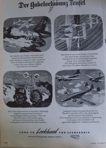 1940s WWII Lockheed Aircraft / P-38 Lightning fork tailed devil ad