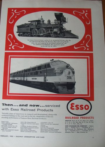 1955 Esso / General 4-4-0 / Nashville Chattanooga & St. Louis NC&STL EMD F3 ad