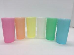 Vtg Set (6) Tupperware Orlando FL USA Pastel Juice Glasses Super Clean