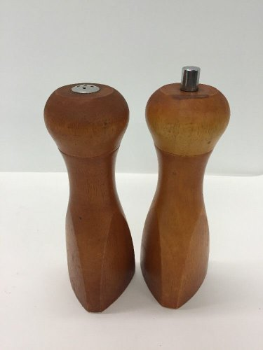 Vtg Mr. Dudley Pecan Wood Pepper Mill And Salt Shaker Modernist Mid Century