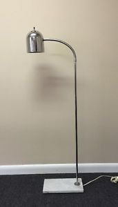Vtg Mid Century Modern 70s 60s Marble Base Chrome Dome Floor Lamp