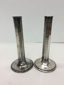 """Vtg Pairpoint Sheffield C06126 Silverplate Art Deco Column Candle Holders 7.5"""""""