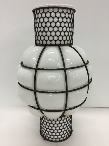 Vtg Caged Murano Milk Bubble Glass Lantern Shade Lamp Metal Mid Century 14""