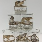 Vtg Mid Century CORA Safari Animal Glasses Impala Cheetah Ring Tail Monkey