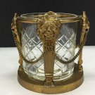 Vtg Andrea By Sadek Brass Cut Glass Lions Head Hollywood Regency Style Cup