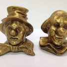 VTG Heavy Gold Painted Brass Metal Clown Bookends