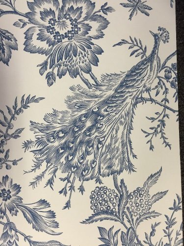 4 Single Rolls Kenneth James Wallpaper Elegant Blue Floral Peacock Asian Toile