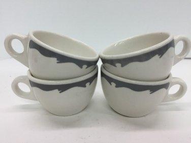 Vtg Buffalo China Restaurant Ware Coffee Cups Gray Wave Border