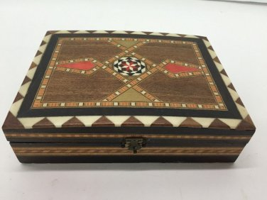 Vtg Lane Crawford Marquetry Box Made In Spain Wood Inlay