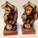 VTG Norleans Japan Ceramic Bookends Ugly Monkeys with Books head Figural 1950s