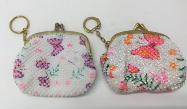 Vtg Pair Butterfly Keychain Snap Closure Coin Purses Plastic Beading