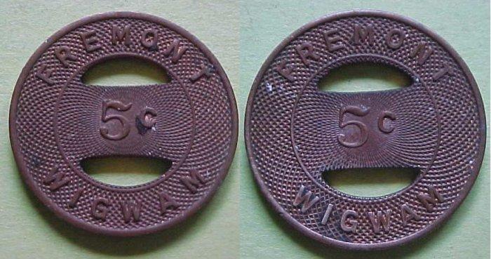 Sunnyvale CA Fremont Wigwam (Fremont H S) 5c merchant token