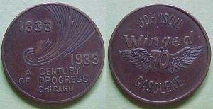 Chicago IL CPIE 1933 Johnson Gasolene Winged 70 advertising token