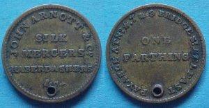 Belfast Ireland John Arnott & Co. farthing token, holed