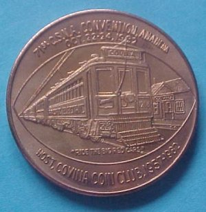 California State Numismatic Association CSNA Fall 1982 medal - Ride The Big Red Cars