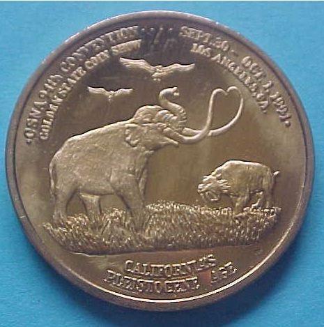 California State Numismatic Association CSNA Fall 1994 medal - California's Pleistocene Age