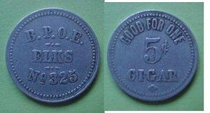Ann Arbor MI BPOE Elks No. 325 good for 5c cigar token