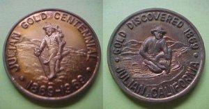 Julian CA Julian Gold Centennial 1969 medal