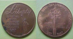 Oklahoma City OK Semi-Centennial 1957 Liberty National Bank medal