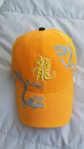 Dragon Baseball Cap Yellow Ball Cap Adjustable Size Embroidered Asian