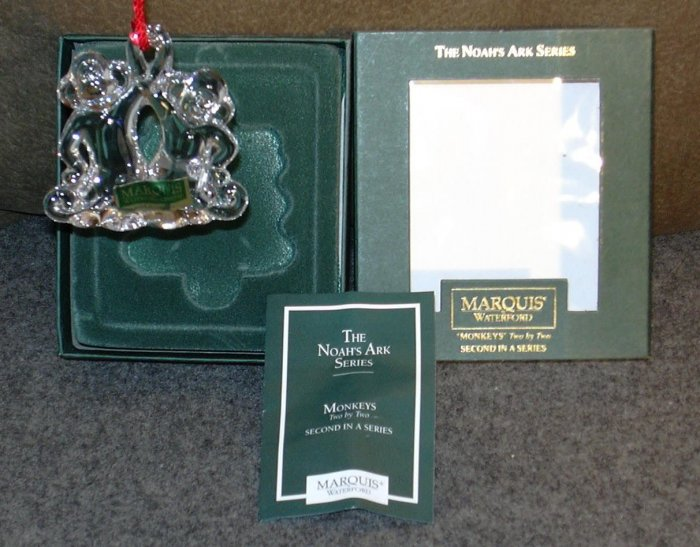 MARQUIS WATERFORD NOAH'S ARK SERIES ORNAMENT MONKEYS TWO BY TWO