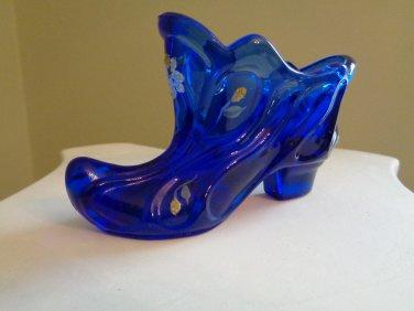Fenton Art Glass Cobalt Blue Slipper Signed