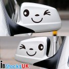 SMILE FACE CAR WING DOOR MIRROR STICKERS DECAL GIFT BIRTHDAY XMAS NEW BLACK