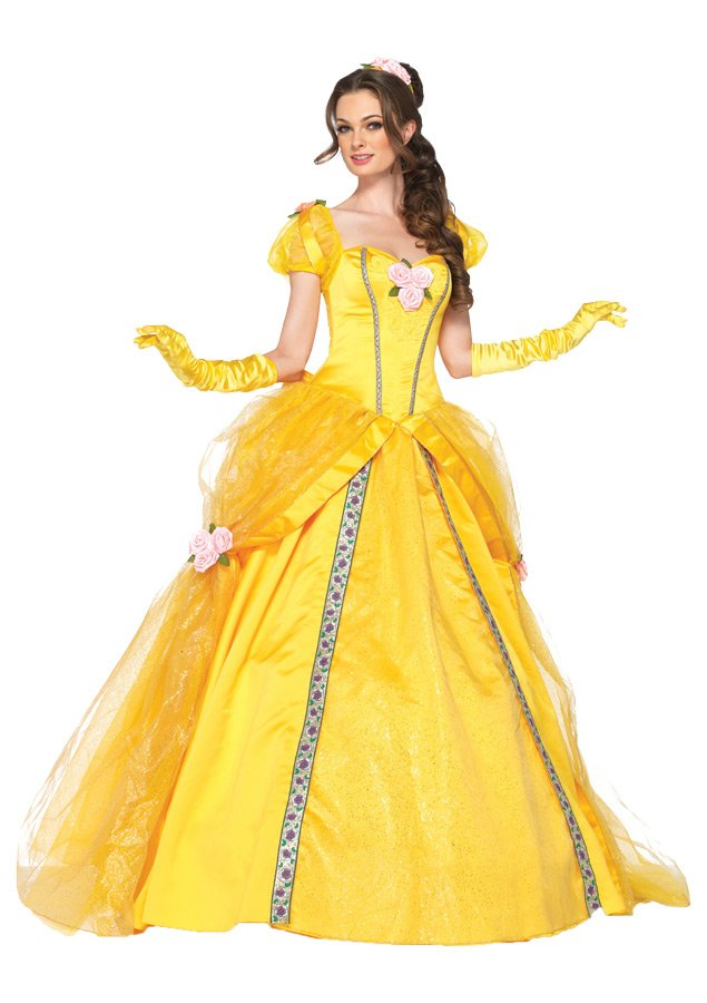 Licensed Deluxe Disney Princess Dress Adult 5 Piece Beauty & The Beast Yellow Belle Gown SM