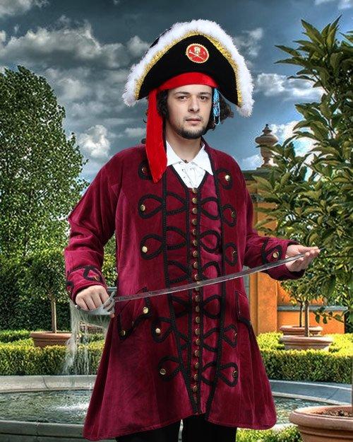 Deluxe Pirate Jacket Costumes Men Blackbeard Pirate Coat Adult Halloween Men S/M