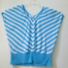 New York&CO Short Dolman Sleeves*Wide Waist Top*Striped*Scooped Neck*Size L