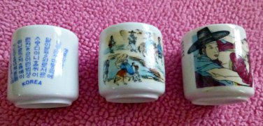 Vintage SET of 3 KOREAN Porcelain White Sake Cups