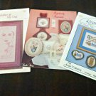 Vintage Mixed Lot of 3 Counted Cross Stitch Pattern Leaflets