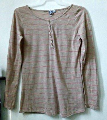 ROXY Long Sleeve*Beige*Striped Top*100% Cotton*Size XL