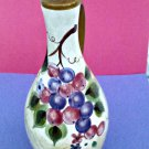 Ceramic Oil Cruet Dispenser*Beige*Grapes/Pear Design*CorK Stopper*Metal Sprout