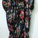 New Directions Size L Black Sheer Short Sleeve Top Floral Elastic Waist Casual