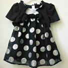 GEORGE Size 24M Black White Polka Dots Short Sleeve Girls Top Casual Festive