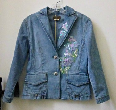 Juniors-XOXO-Size-M-Jeans-Jacket-Sequin-Embellished-Floral-Pockets-Button-Bling