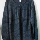 Maggie McNaughton PLUS Size 1X Black Metallic Blouse Long Sleeve Floral