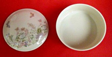 Vintage 1960? Round Large Porcelain Keepsake Trinket Box W/ Lid Floral White 5''