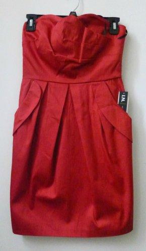 Juniors I.N. San Francisco Size 5 Red Strapless Mini Dress W/Pockets Back Zipper