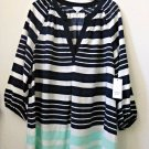 Petites NWT Crown&Ivy Size PM  Women's 3/4 Sleeve Striped Casual Blouse Y-Neck