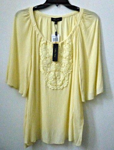 NWT Melissa Paige Size S Lemon Yellow 3/4 Sleeve Peasant Blouse Crochet Detail